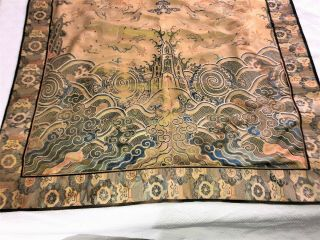 Large ANTIQUE CHINESE SILK BROCADE PANEL with DRAGONS QING 43