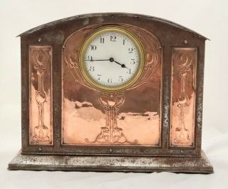 Large Arts & Crafts Glasgow School Copper & Iron Mantle Clock Af