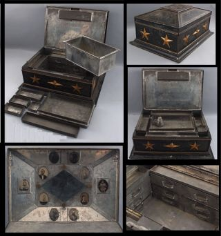 Antique Civil War Period,  Fitted Tin Apothecary Chest,  Combination Stars Lock