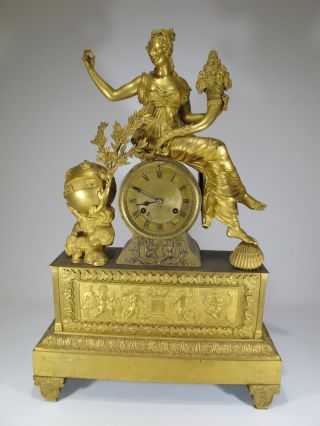 19th C French Gilt Bronze Mantle Clock D9050