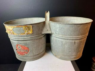 Vintage Antique Galvanized Double Connected Bucket Buckets Wheeling Wv