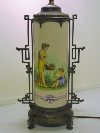 Ca.  1885 French Sevres - Style Hand - Painted Porcelain Table Lamp W/ Brass Mounts