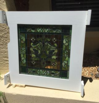 Vintage Arts & Crafts Stained Glass Window / Artfully Framed