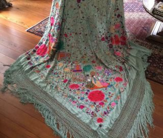 Exquisite Antique Conton Chinese Embroidery Silk Shawl Flowers People Pagoda