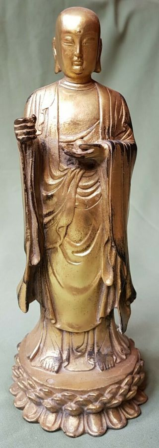 Large Antique Chinese Gilt Bronze Figure Of An Immortal