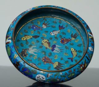 A Fine Chinese Bronze Cloisonné Fish Bowl,  Qing Period.