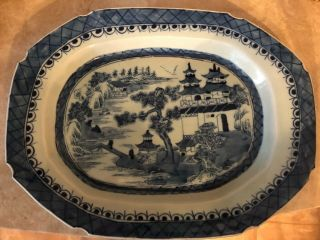 "Antique Chinese Export Canton Blue& White 13 1/2 "" X 10 3/4 "" Platter 19th Century"