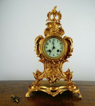 Antique French Rococo Louis Xv Style Boulle Mantel Clock Georges Verger Freres