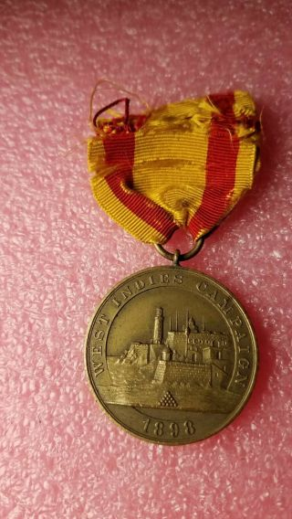 1898 Us Navy West Indies Campaign Medal Numbered Spanish American War