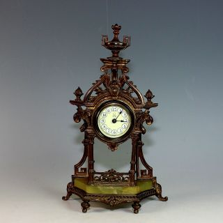 Antique German Mantle Clock With Porcelain Dial And Onyx Base