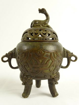 Antique Chinese Bronze Tripod Censer With Chimera Finial Marks To Base China