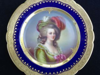 """Antique Royal Vienna """" Marie Antoinette """" Hand - Painted Cabinet Plate Signed"""