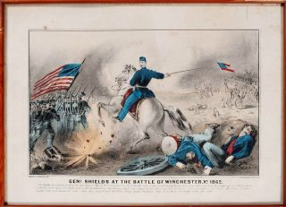 1862 Civil War Battle Of Winchester Currier & Ives Lithograph Print Hand Colored