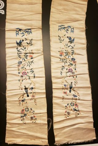 Pair Antique Qing Dynasty Chinese Silk Embroidery Panels Sleeve Bands