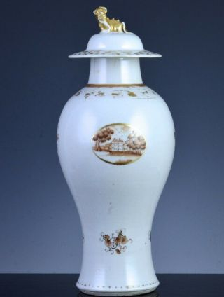 Fine & Rare 18thc Chinese Qianlong Export American Market Scenic Meiping Vase