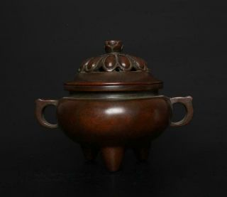 Large Perfect Antique Chinese Bronze Incense Burner Xuande Mark - Louts Seedpod
