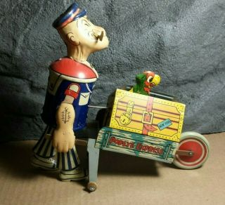 Rare Vintage Marx | Popeye Express With Pop - Up Parrot | Tin Wind Up Toy |