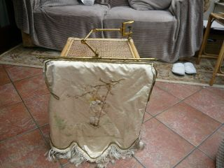 Rare To Find Antique Victorian Brass Tapestry Holder Fire Face Screen