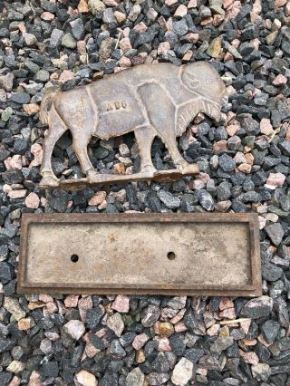 Authentic Vintage Rare Bull & Base Windmill Weight Old Cast Iron Farm