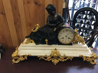 Bronze & Marble French Mantle Clock Stunning