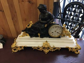 Bronze & Marble French Mantle Clock Stunning 2