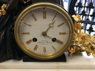 Bronze & Marble French Mantle Clock Stunning 5