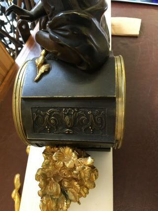 Bronze & Marble French Mantle Clock Stunning 8