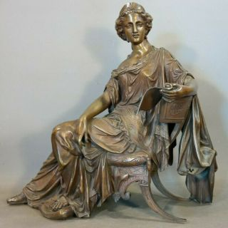 19thc Antique Victorian Bronze Statue Old Grecian Lady & Scroll Mantel Sculpture