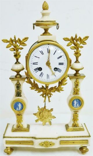 Rare Antique French Empire Bronze,  Wedgwood & White Marble Portico Mantle Clock
