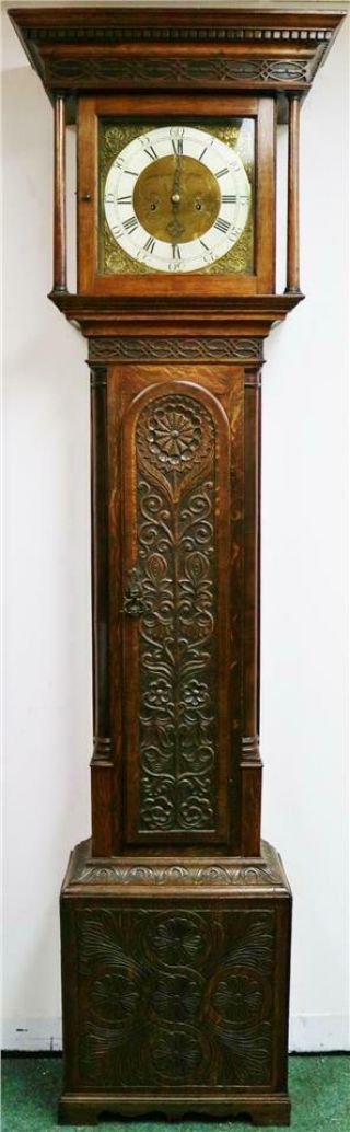 Antique English C1740 8 Day Highly Carved Grandfather Longcase Clock