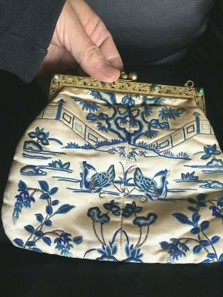 Chinese 19thc Gold Washed Silver Silk Embroiderd Womens Evening Purse