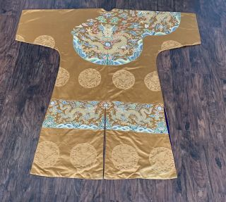 Antique Chinese Silk Brocade Dragon Robe 18th Century Kangxi Qing