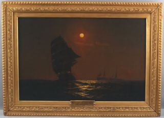 Antique Warren Sheppard Nocturnal Moonlit Tonalist Maritime Ship Oil Painting Nr