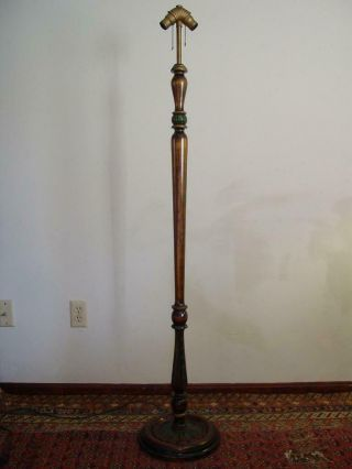 Vintage Antique Arts And Crafts Turned Wood Floor Lamp Dual Sockets