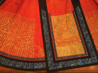 An Important Chinese Qing Dynasty Imperial Phoenix Embroidered Silk Skirt.
