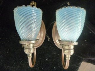 Circa 1905 Arts And Crafts Brass Sconce Pair With Vaseline Glass