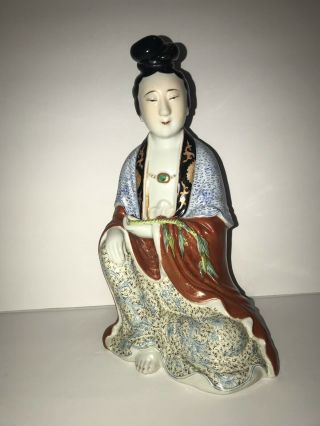 "Large Early 20th C.  Antique Chinese Porcelain Geisha Figurine Marked 10 "" Tall"