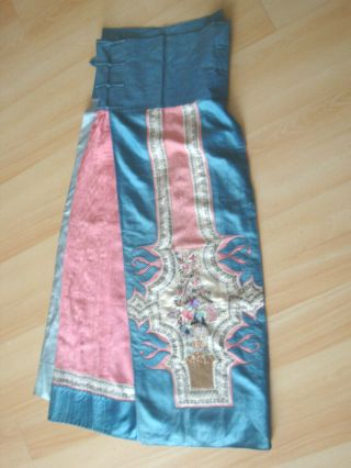 Antique Chinese Embroidered Silk Skirt.  19th Cent.