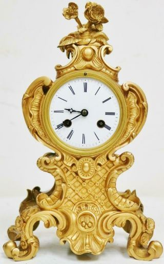 Antique French Gilt Bronze Mantle Clock 8 Day Rococo Bell Striking Mantel Clock