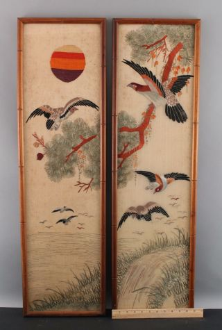 Pair Antique Early - 20thc Japanese Silk Embroidered Diptych Exotic Birds,  Flowers