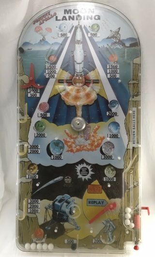 Vintage Large Tabletop Johnny Apollo Moon Landing Pinball Marble Game Marx