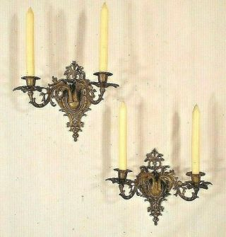 Antique Early 20th Century Solid Brass Rococo Double Arm Candle Sconces