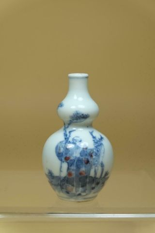 Chinese Underglazed - Blue And Copper - Red Gourd Shape Snuff Bottle.