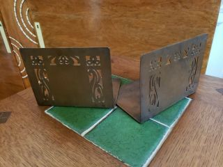 Minneapolis Handicraft Guild Arts Crafts Copper Bookends,  Stickley Roycroft Era