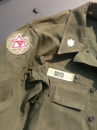 Vtg Wwii Us Army Military Hbt Twill Utility Combat Shirt Jacket 32r