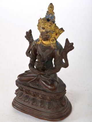 Bronze Bodhisattva Buddha Amitayus Seated On Double Lotus Base Chinese Tibet