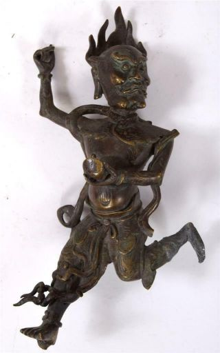 Dynamic Antique Fine Bronze Statue Buddhist Deity Running Or Flying China Tibet