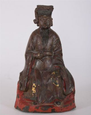 Antique Chinese Ming Bronze Emperor Gaozu Of Han Calligraphy On Rear Base