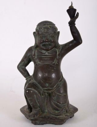 Antique Chinese Tibetan Bronze Kneeling Fat Happy Buddha Holding Censer Or Lamp
