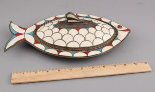 Vintage Mid - 20thc Mexican Hand Hammered Copper Inlaid Fish Dish